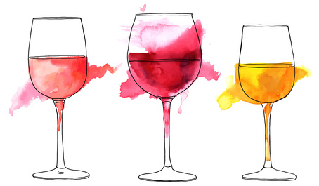 A set of vector and watercolor drawings of glass of rose, red, and white wine with splashes of paint, on white background